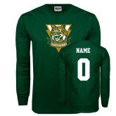 Dark Green Long Sleeve T Shirt-Primary Athletic Mark, Custom Tee w/ Name and #