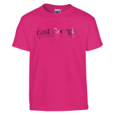 Youth Cyber Pink T Shirt-Primary Athletic Mark  Foil