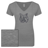 ENZA Ladies Graphite Melange V Neck Tee-Bobcat Head Graphite Soft Glitter