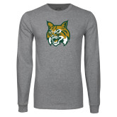 Grey Long Sleeve T Shirt-Bobcat Head