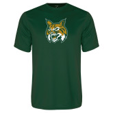 Performance Dark Green Tee-Bobcat Head
