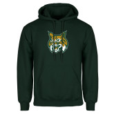 Dark Green Fleece Hood-Bobcat Head