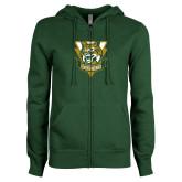 ENZA Ladies Dark Green Fleece Full Zip Hoodie-Primary Athletic Mark