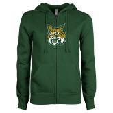 ENZA Ladies Dark Green Fleece Full Zip Hoodie-Bobcat Head