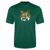 Performance Dark Green Heather Contender Tee-Bobcat Head