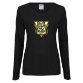 Ladies Black Long Sleeve V Neck Tee-Primary Athletic Mark