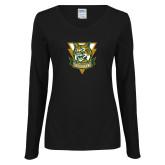 Ladies Black Long Sleeve V Neck T Shirt-Primary Athletic Mark