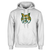 White Fleece Hoodie-Bobcat Head