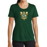 Ladies Performance Dark Green Tee-Primary Athletic Mark
