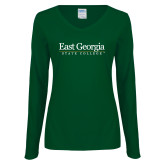Ladies Dark Green Long Sleeve V Neck Tee-Primary Mark