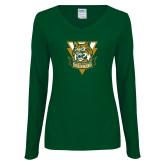 Ladies Dark Green Long Sleeve V Neck T Shirt-Primary Athletic Mark