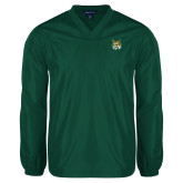 V Neck Dark Green Raglan Windshirt-Bobcat Head