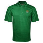 Dark Green Mini Stripe Polo-Bobcat Head