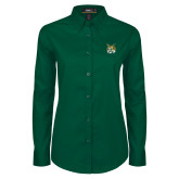 Ladies Dark Green Twill Button Down Long Sleeve-Bobcat Head