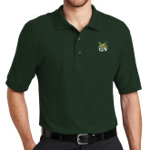 Dark Green Easycare Pique Polo-Bobcat Head