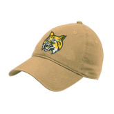 Vegas Gold Twill Unstructured Low Profile Hat-Bobcat Head