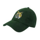 Dark Green Twill Unstructured Low Profile Hat-Bobcat Head