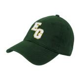 Dark Green Twill Unstructured Low Profile Hat-Interlocking EG