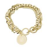 Olivia Sorelle Gold Round Pendant Multi strand Bracelet-Bobcat Head  Engraved