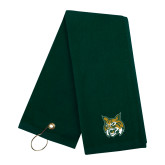 Dark Green Golf Towel-Bobcat Head