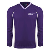 Colorblock V Neck Purple/White Raglan Windshirt-EH Vertical