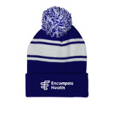 Royal/White Two Tone Knit Pom Beanie w/Cuff-EH Vertical