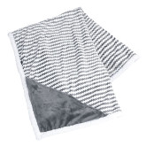 Field & Co Luxurious Grey Chevron Striped Sherpa Blanket-EH Vertical  Engraved