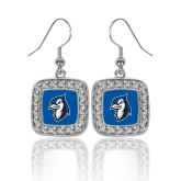 Crystal Studded Square Pendant Silver Dangle Earrings-Blue Jays Mascot