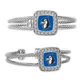 Crystal Studded Cable Cuff Bracelet With Square Pendant-Blue Jays Mascot