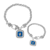 Silver Braided Rope Bracelet With Crystal Studded Square Pendant-Blue Jays Mascot