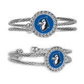 Crystal Studded Cable Cuff Bracelet with Round Pendant-Blue Jays Mascot