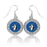 Crystal Studded Round Pendant Silver Dangle Earrings-Blue Jays Mascot