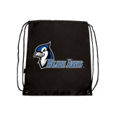 Nylon Black Drawstring Backpack-Blue Jays