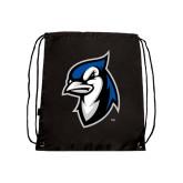 Black Drawstring Backpack-Blue Jays Mascot