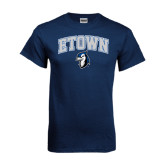 Navy T Shirt-ETOWN with Mascot