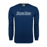 Navy Long Sleeve T Shirt-Blue Jays Wordmark
