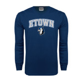 Navy Long Sleeve T Shirt-ETOWN with Mascot