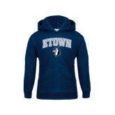 Youth Navy Fleece Hoodie-ETOWN with Mascot