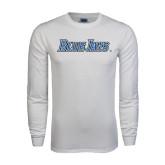 White Long Sleeve T Shirt-Blue Jays Wordmark