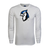 White Long Sleeve T Shirt-Blue Jays Mascot Distressed