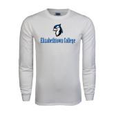 White Long Sleeve T Shirt-Elizabethtown College with Blue Jays Mascot