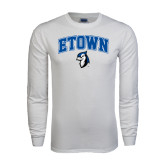 White Long Sleeve T Shirt-ETOWN with Mascot