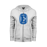 ENZA Ladies White Fleece Full Zip Hoodie-Official Logo