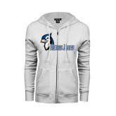 ENZA Ladies White Fleece Full Zip Hoodie-Blue Jays