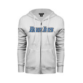 ENZA Ladies White Fleece Full Zip Hoodie-Blue Jays Wordmark