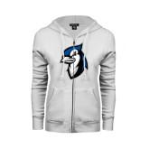 ENZA Ladies White Fleece Full Zip Hoodie-Blue Jays Mascot