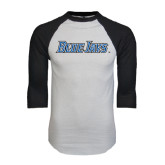 White/Black Raglan Baseball T-Shirt-Blue Jays Wordmark
