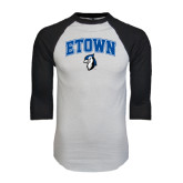 White/Black Raglan Baseball T-Shirt-ETOWN with Mascot