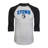 White/Black Raglan Baseball T-Shirt-ETOWN with Mascot