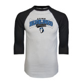 White/Black Raglan Baseball T-Shirt-Crossed Bats Baseball